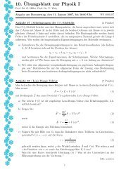 10.¨Ubungsblatt zur Physik I - bei der Fakultät Physik der TU-Dortmund
