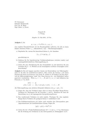 Blatt 5 - Fakultät für Mathematik - TU Dortmund