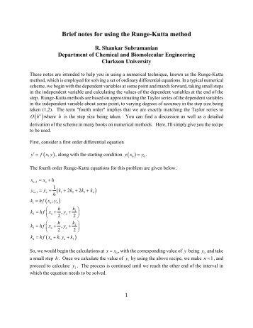 Runge-Kutta Method - Clarkson University
