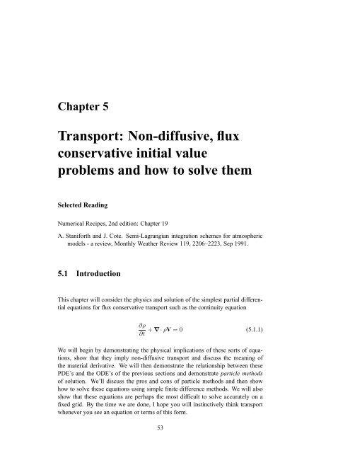 Transport: Non-diffusive, flux conservative initial value