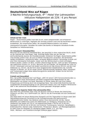 Deutschland/Binz auf Rügen 3 Nächte Erholungsurlaub, 4*+-Hotel ...