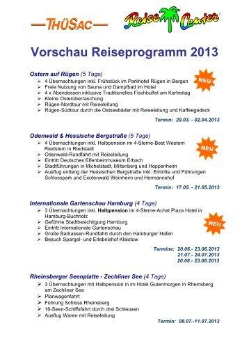 Vorschau Reiseprogramm 2013