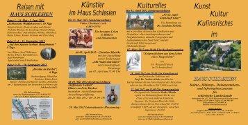 Kultur Kulinarisches Kunst im Kulturelles Reisen ... - Haus Schlesien