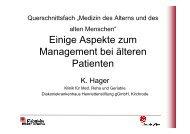 Einige Aspekte zum Management bei älteren Patienten - Geriatrie