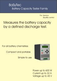 BaSyTec Measures the battery capacity by a defined ... - Westek