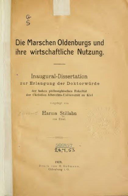 Die marschen Oldenburgs und ihre wirtschaftliche nutzung ..