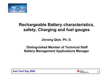 Rechargeable Battery characteristics, safety, Charging and fuel ...
