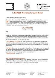 9. RAMSES Workshop für Juniortexter - RMS - Austria