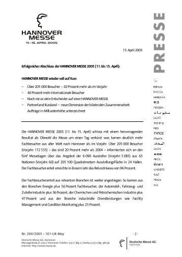 15. April 2005 Erfolgreicher Abschluss der HANNOVER ... - Namur