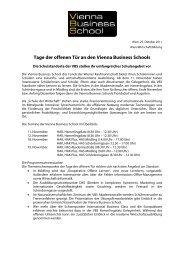 Tage der offenen Tür an den Vienna Business Schools