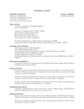 DAMEK S. DAVIS - UCLA Department of Mathematics
