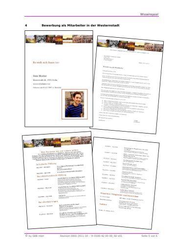 wissenspool 4 bewerbung als mitarbeiter in der westernstadt - Bewerbung Als Mitarbeiter