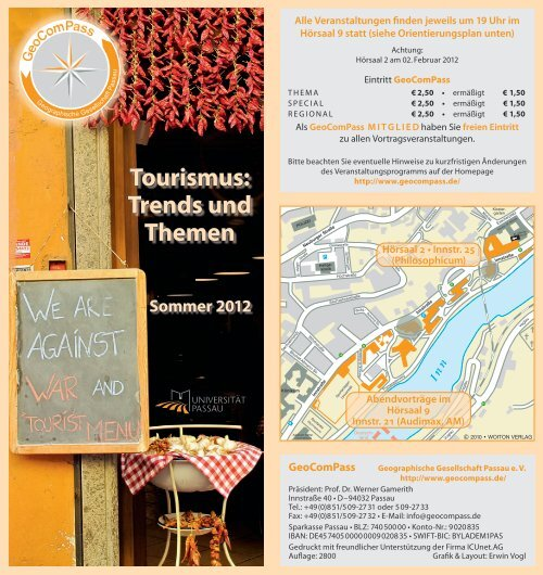 GeoComPass-Programm Sommer 2012 - Universität Passau