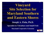 Vineyard Site Selection for Maryland Southern and Eastern Shores