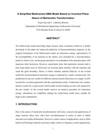A Simplified Multivariant SMA Model Based on Invariant Plane ...