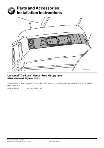 Comfort universal hands free kit E39 from 03 - BMW Retrofit guides