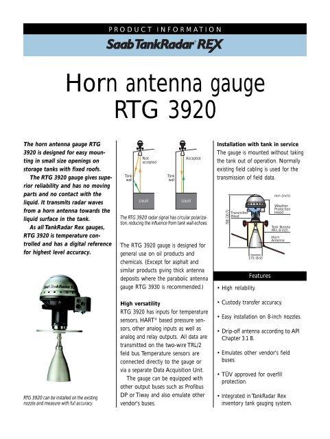 Horn antenna gauge RTG 3920 - ProREXoil
