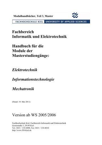 Fachbereich Informatik und Elektrotechnik Handbuch für die Module ...
