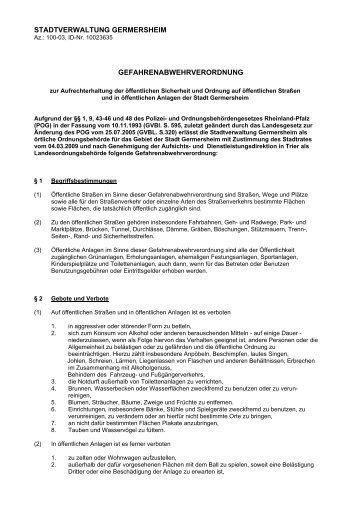 Gefahrenabwehrverordnung zur Aufrechterhaltung ... - Germersheim