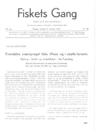 Fiskets Gang. Nr. 39-1946. 32. årgang