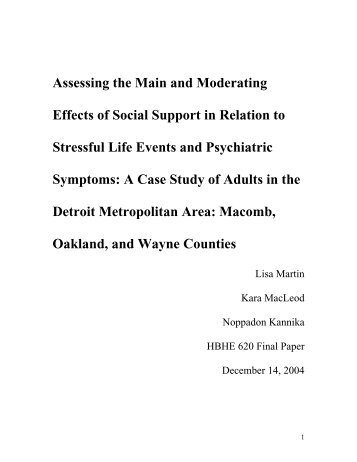 The moderating impact of social support