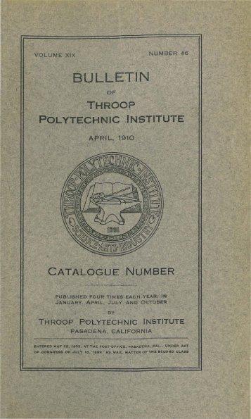 PDF (April 1910 catalogue number) - CaltechCampusPubs