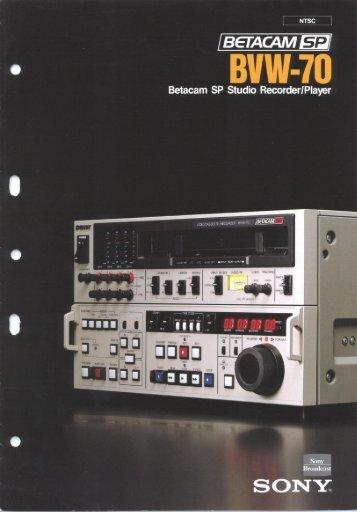 Sony BVW-70 Manual - Westside Media Group