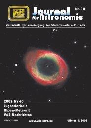 Nr. 10 2002 NY 40 Jugendarbeit Alpen-Meteorit VdS ... - VdS-Journal