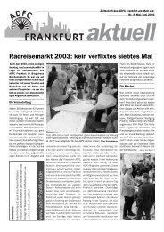 Radreisemarkt 2003: kein verflixtes siebtes Mal - ADFC Frankfurt