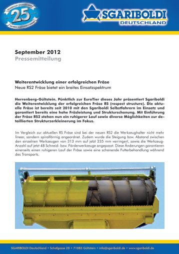 Pressemitteilung herunterladen - Sgariboldi Deutschland