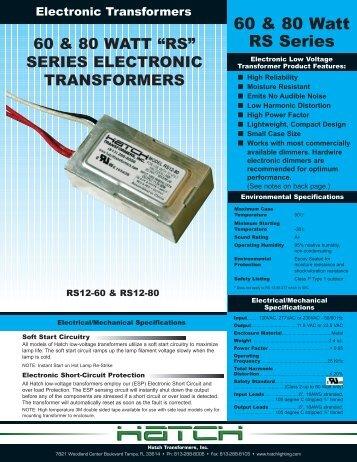 60 & 80 Watt RS Series - Hatch Transformers Inc.