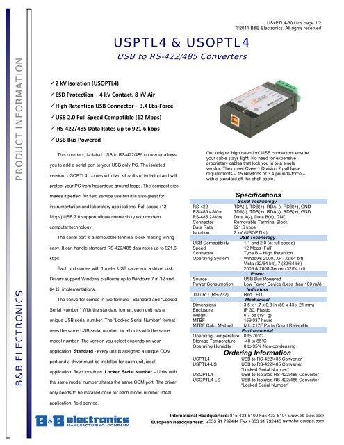 B&B MODEL USOPTL4 TREIBER WINDOWS XP