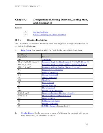 Chapter 3 Designation of Zoning Districts, Zoning Map ... - City of Mesa