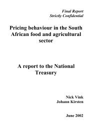 Pricing behaviour in the South African food and ... - SARPN