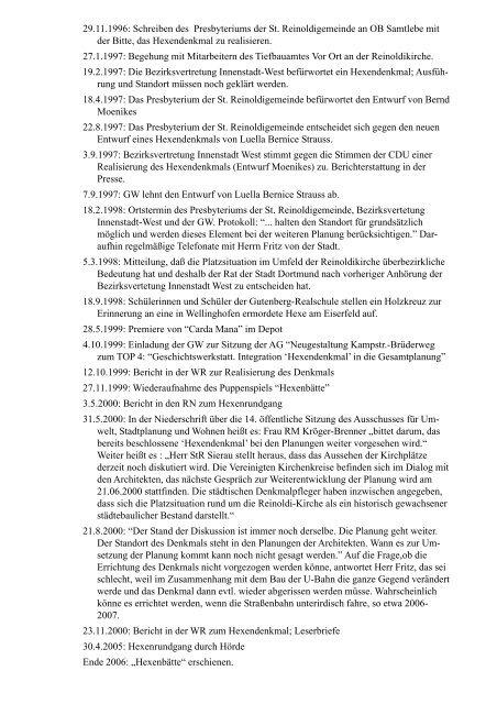 Chronik Hexendenkmal - Geschichtswerkstatt Dortmund eV