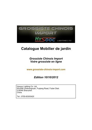 Catalogue Mobilier de jardin - Grossiste chinois import