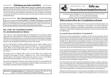 Info der - Geschichtswerkstatt Dortmund eV