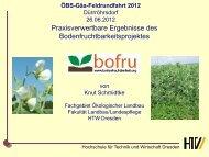Praxisverwertbare Ergebnisse des Bodenfruchtbarkeitsprojektes - Gäa