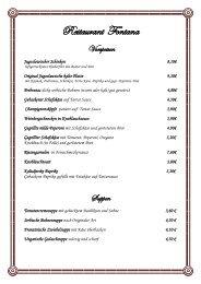 Speisekarte - Restaurant Fontana