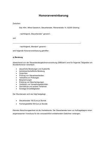 Honorarvereinbarung - Steuerberater Gesierich in Gilching