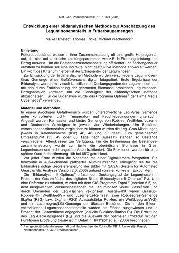 Entwicklung einer bildanalytischen Methode zur ... - Universität Kassel