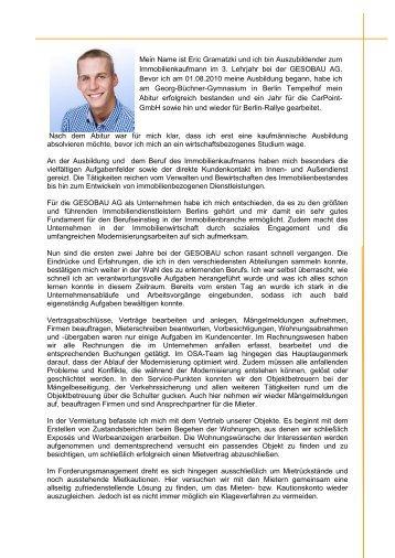 Erfahrungsbericht - Gesobau AG