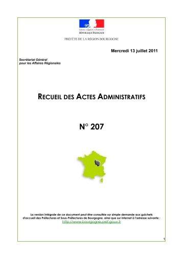 N° 207 - Préfecture de la Région Bourgogne et de la Côte-d'Or