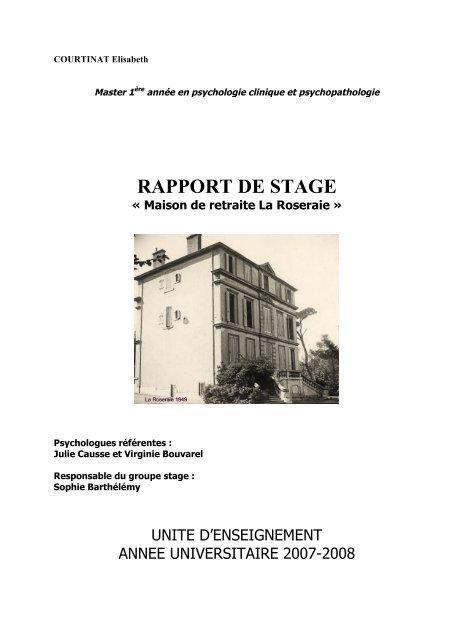 Rapport De Stage Maison De Retraite La Roseraie
