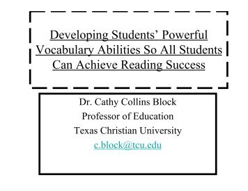 Developing Students' Powerful Vocabulary Abilities So All