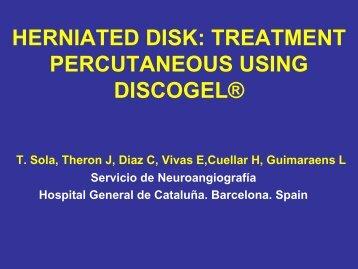 herniated disk: treatment percutaneous using discogel