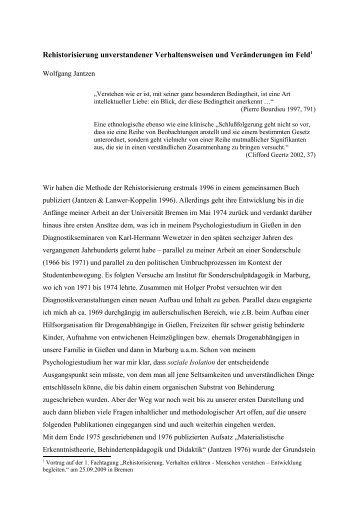 Rehistorisierung unverstandener ... - Wolfgang Jantzen