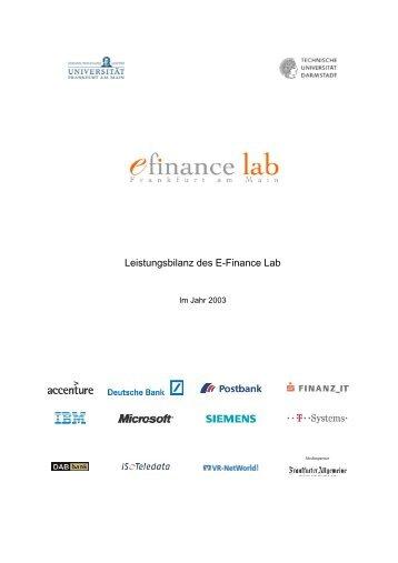 1 Arbeitsergebnisse - E-Finance Lab Frankfurt am Main