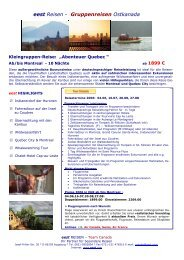 eest Reisen - Gruppenreisen Ostkanada - World Travel Net