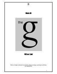 Wine List Wine List - The G Hotel